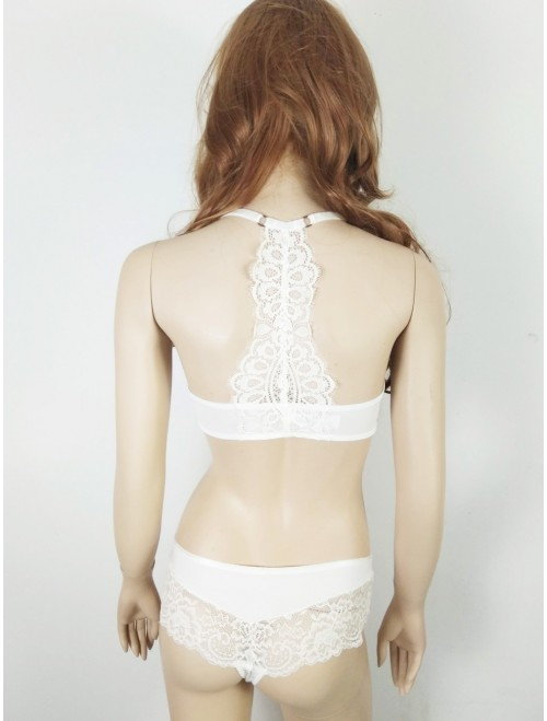 front open off white padded lace bra