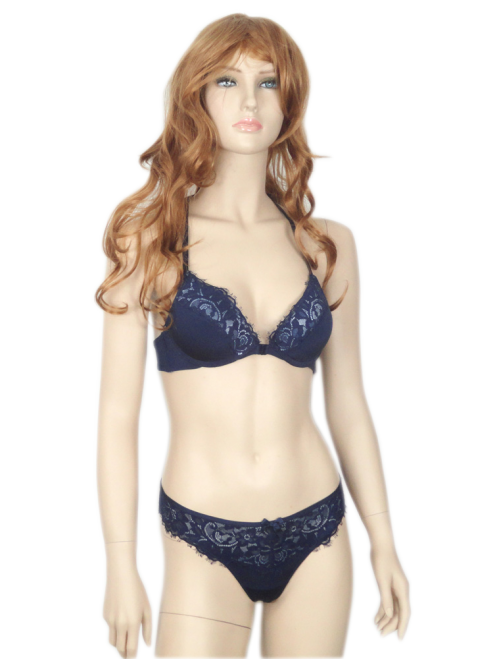 Navy blue front open lace padded bra