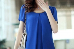 Women-short-sleeve-long-blouse